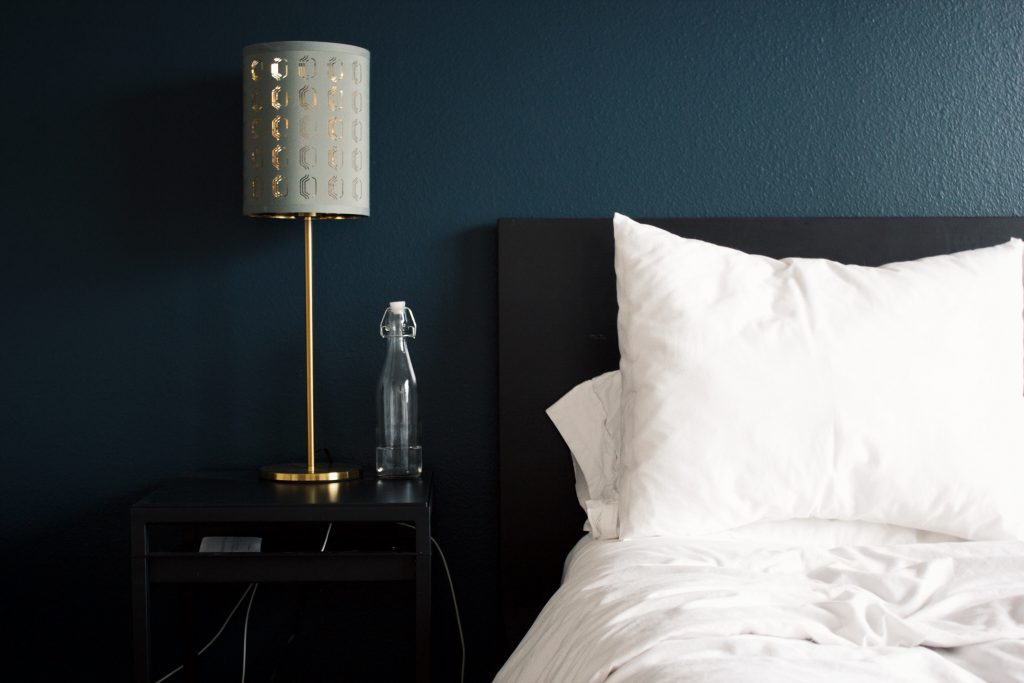 Hotel bed and lamp